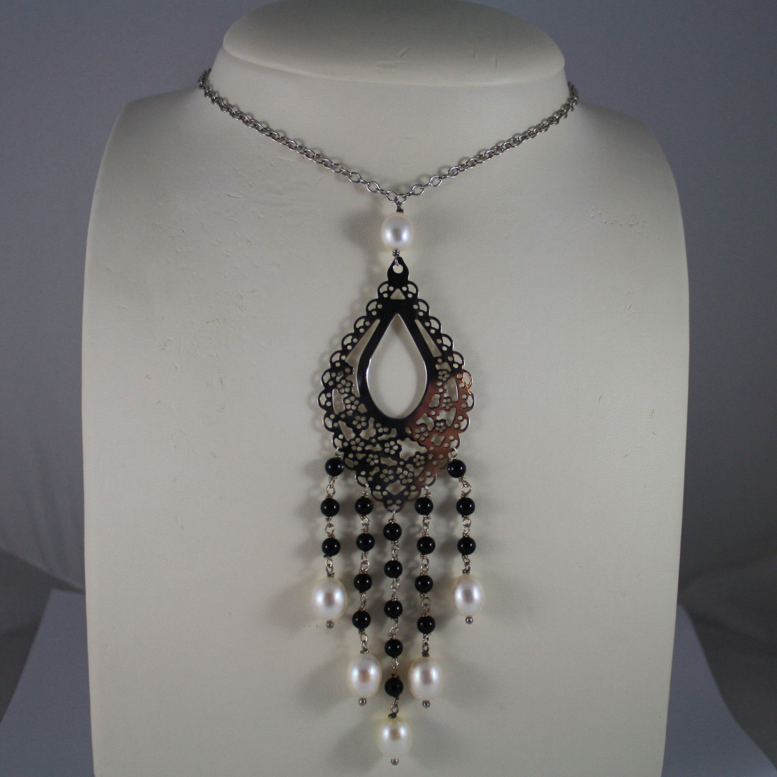 .925 SILVER RHODIUM NECKLACE WITH FRESHWATER WHITE PEARLS, BLACK ONYX AND DROP