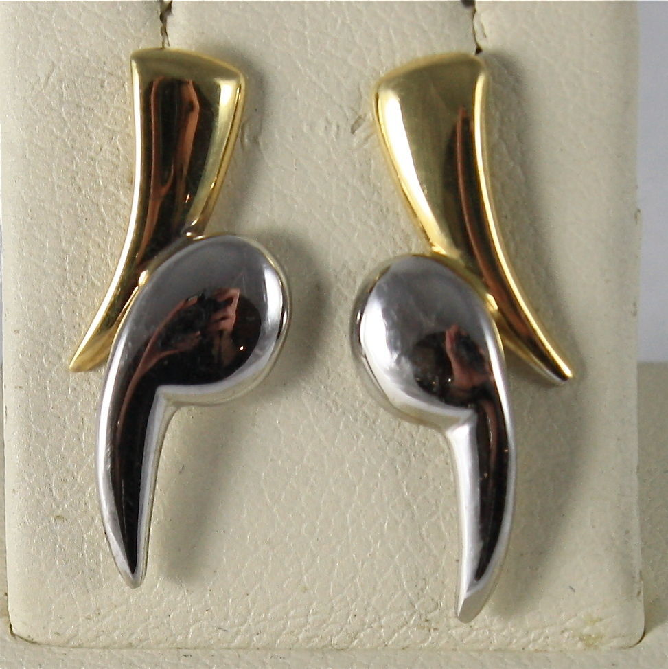 SOLID 18K WHITE AND YELLOW GOLD PENDANT EARRINGS, LIGHTNING, MADE IN ITALY