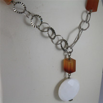 .925 SILVER RHODIUM NECKLACE 29,53 In, CARNELIAN, WHITE FACETED AGATE PENDANT. image 2
