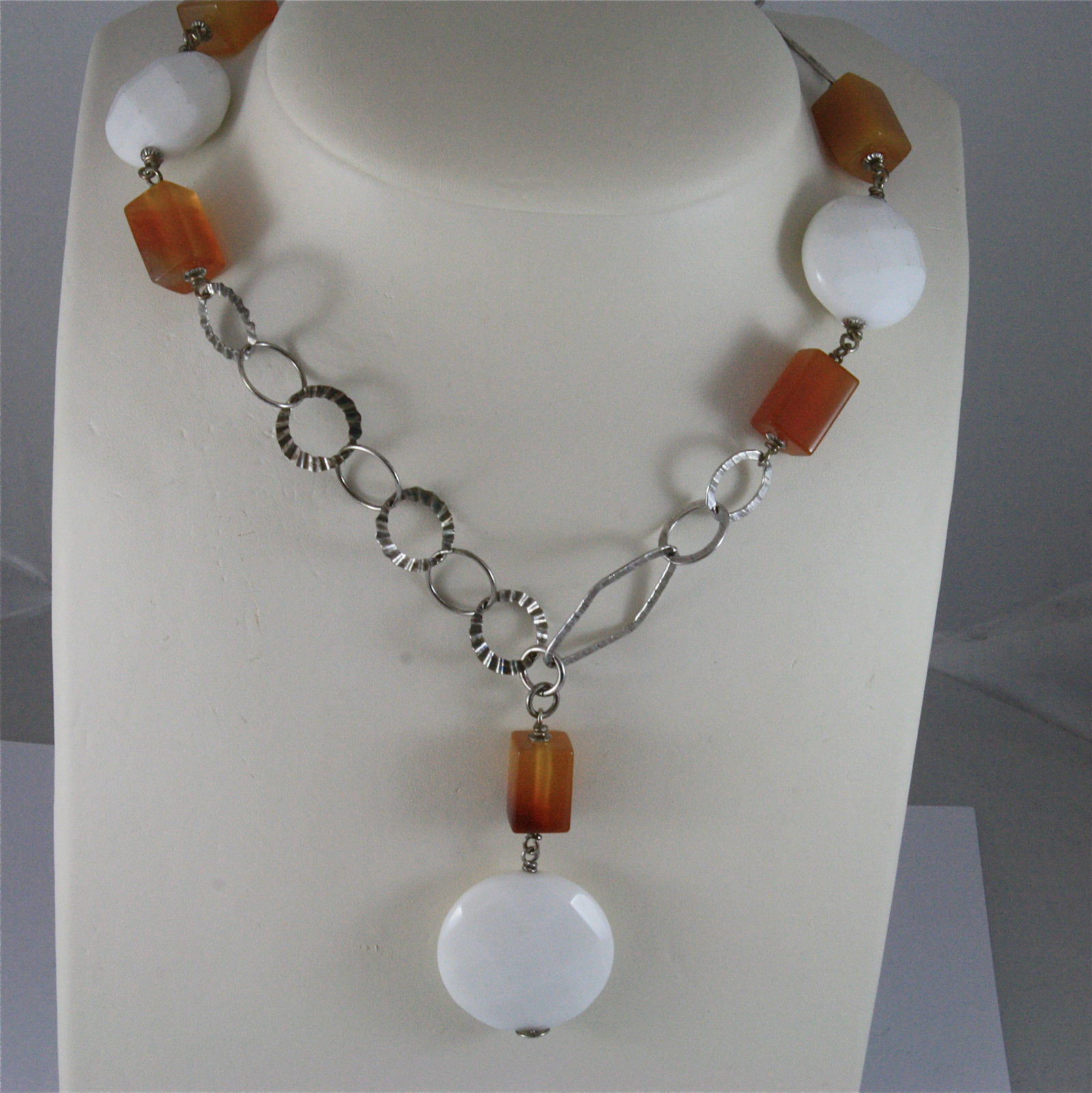 .925 SILVER RHODIUM NECKLACE 29,53 In, CARNELIAN, WHITE FACETED AGATE PENDANT.
