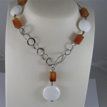 .925 SILVER RHODIUM NECKLACE 29,53 In, CARNELIAN, WHITE FACETED AGATE PENDANT. image 1