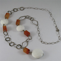 .925 SILVER RHODIUM NECKLACE 29,53 In, CARNELIAN, WHITE FACETED AGATE PENDANT. image 4