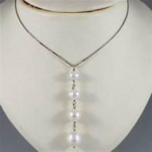 18K WHITE GOLD NECKLACE WITH PENDANT, WHITE PEARL DIAMETER 1 CM MADE IN ... - $352.45