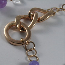 .925 ROSE PLATED NECKLACE 40,55 In, AMETHYST, PEARLS, CRYSTALS, MIXED MESH. image 4