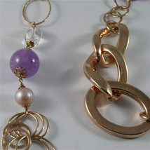 .925 ROSE PLATED NECKLACE 40,55 In, AMETHYST, PEARLS, CRYSTALS, MIXED MESH. image 2
