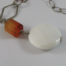 .925 SILVER RHODIUM NECKLACE 29,53 In, CARNELIAN, WHITE FACETED AGATE PENDANT. image 5