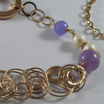 .925 ROSE PLATED NECKLACE 40,55 In, AMETHYST, PEARLS, CRYSTALS, MIXED MESH. image 3