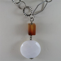 .925 SILVER RHODIUM NECKLACE 29,53 In, CARNELIAN, WHITE FACETED AGATE PENDANT. image 3