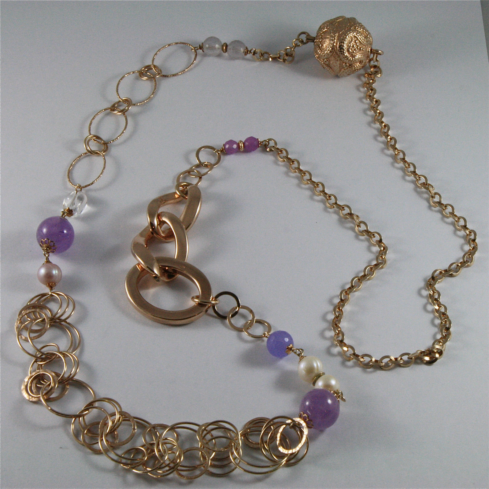 .925 ROSE PLATED NECKLACE 40,55 In, AMETHYST, PEARLS, CRYSTALS, MIXED MESH.