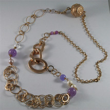 .925 ROSE PLATED NECKLACE 40,55 In, AMETHYST, PEARLS, CRYSTALS, MIXED MESH. image 1