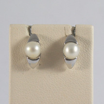 SOLID 18KT.WHITE GOLD EARRINGS,WITH LITTLE FRESHWATER WHITE PEARLS MADE IN ITALY