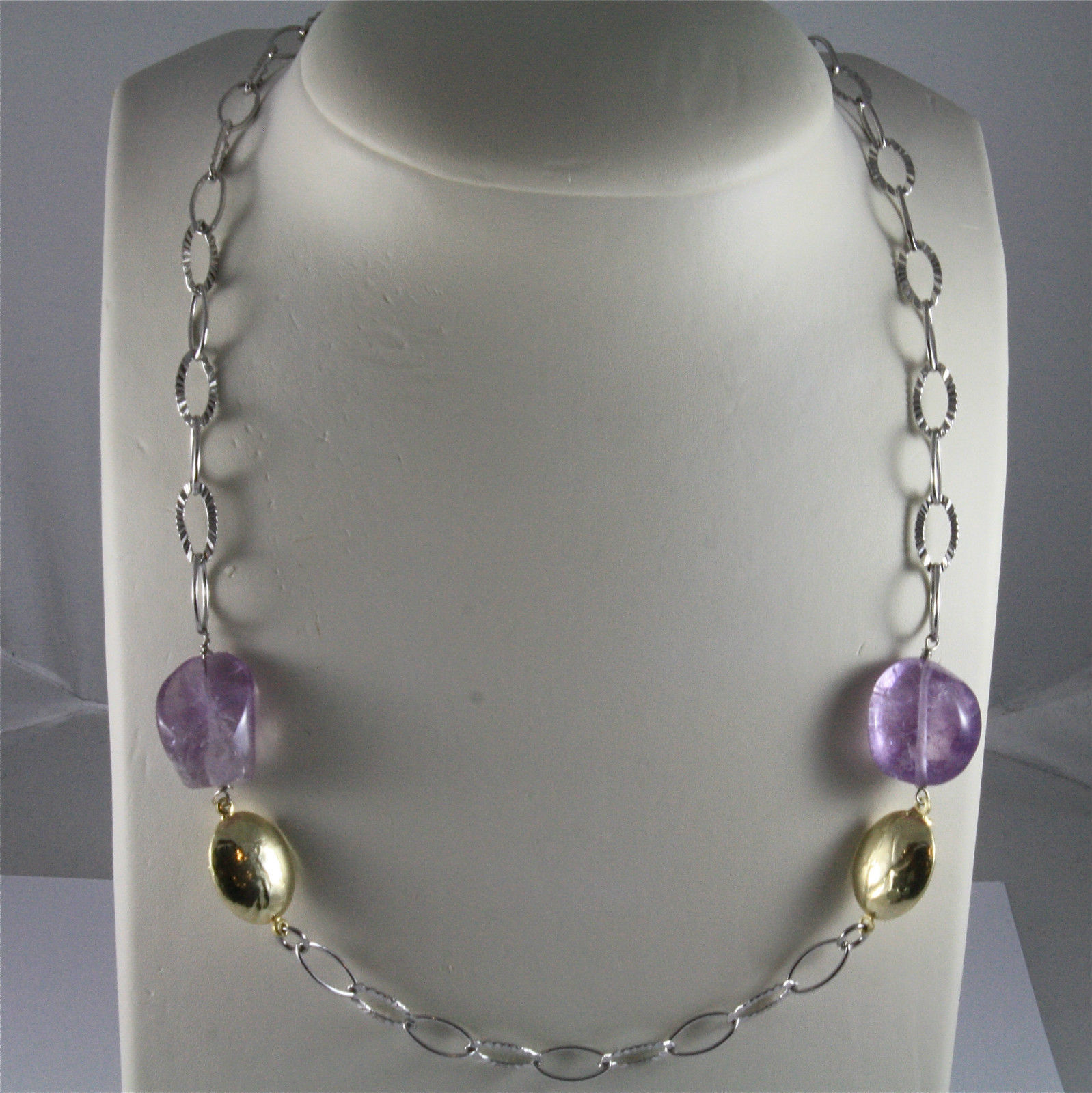 .925 SILVER RHODIUM NECKLACE 23,62 In, AMETHYST, GOLD PLATED NUGGETS, OVAL MESH.