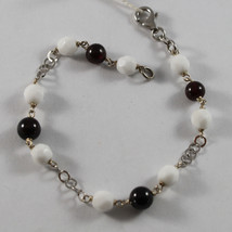 .925 RHODIUM SILVER BRACELET WITH RED GRENADE AND FACETED WHITE AGATE - $50.35