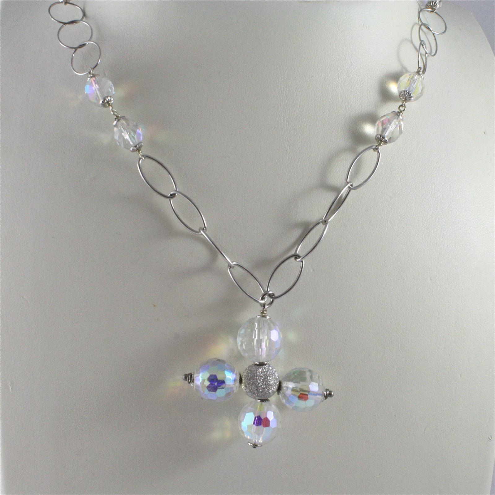 .925 RHODIUM SILVER NECKLACE WITH CRISTAL CROSS AND CRISTAL BALLS
