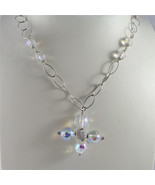 .925 RHODIUM SILVER NECKLACE WITH CRISTAL CROSS AND CRISTAL BALLS - $185.24