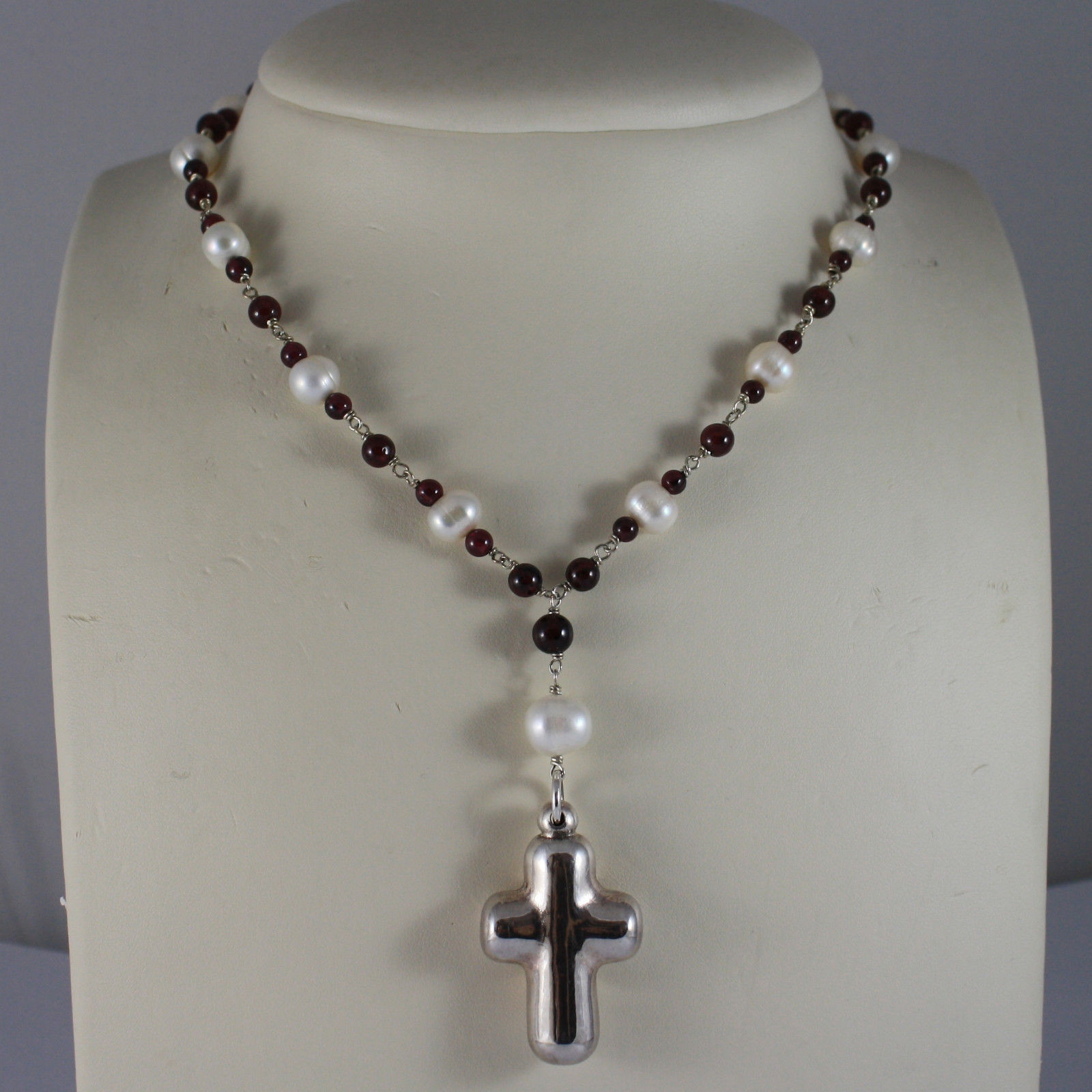 .925 RHODIUM SILVER NECKLACE WITH WHITE FRESHWATER PEARL AND RED GRENADE
