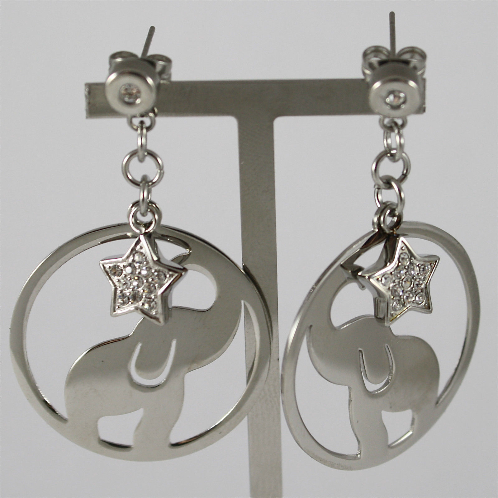 S'AGAPO' EARRINGS, 316L STEEL, ELEPHANT AND STAR, FACETED CRYSTALS.