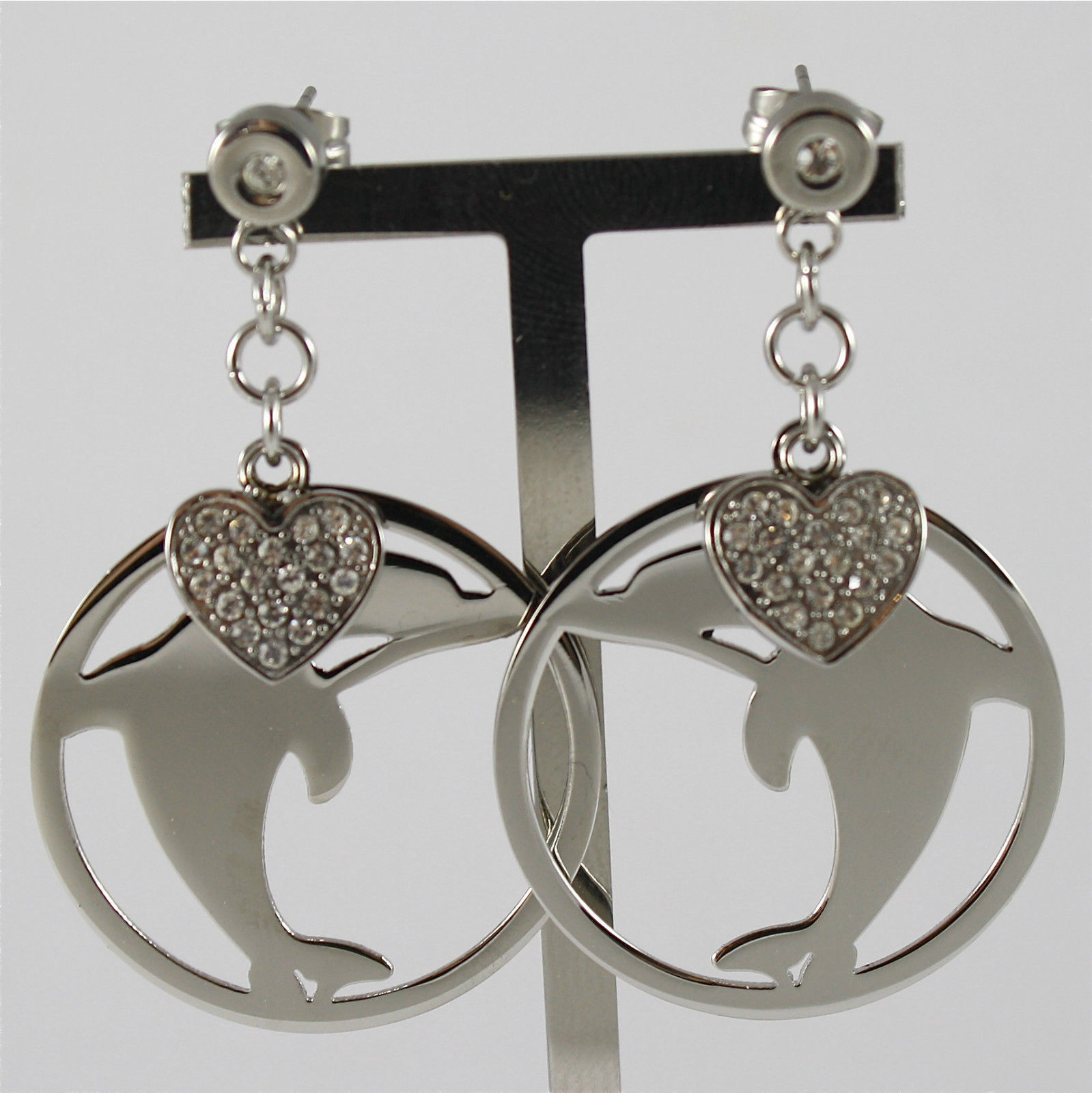 S'AGAPO' EARRINGS, 316L STEEL, DOLPHIN AND HEART, FACETED CRYSTALS.