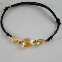 SOLID 18K YELLOW GOLD BRACELET WITH HEART FACETED CITRINE, HEARTS, MADE IN ITALY