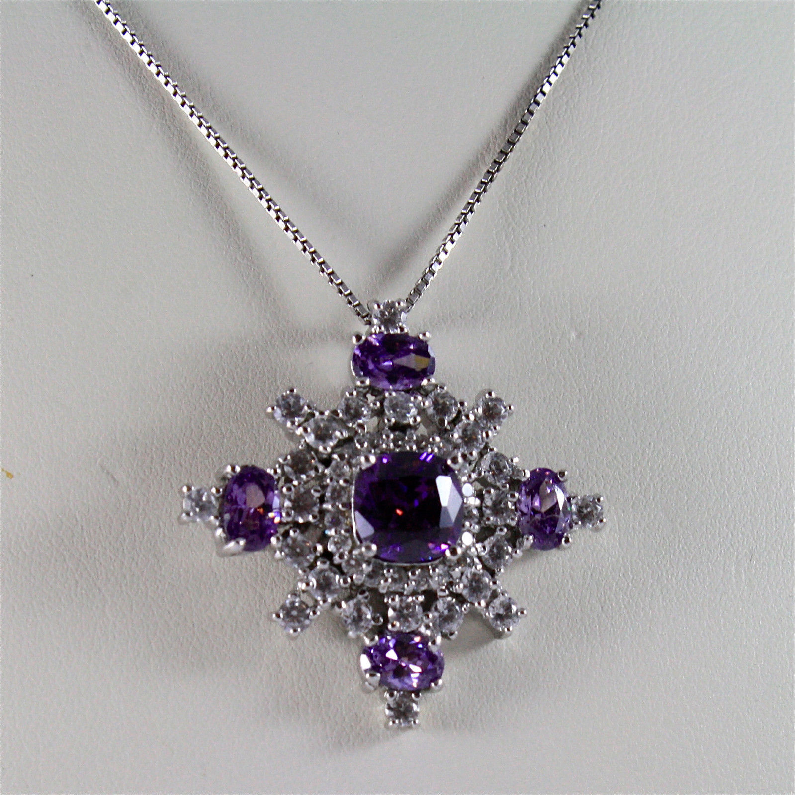 .925 RHODIUM SILVER NECKLACE, PURPLE FACETED CRISTAL, FACETED ZIRCONIA, SUPREME.