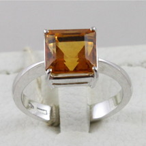 18K WHITE GOLD 750 RING WITH CITRINE QUARTZ MADE IN ITALY