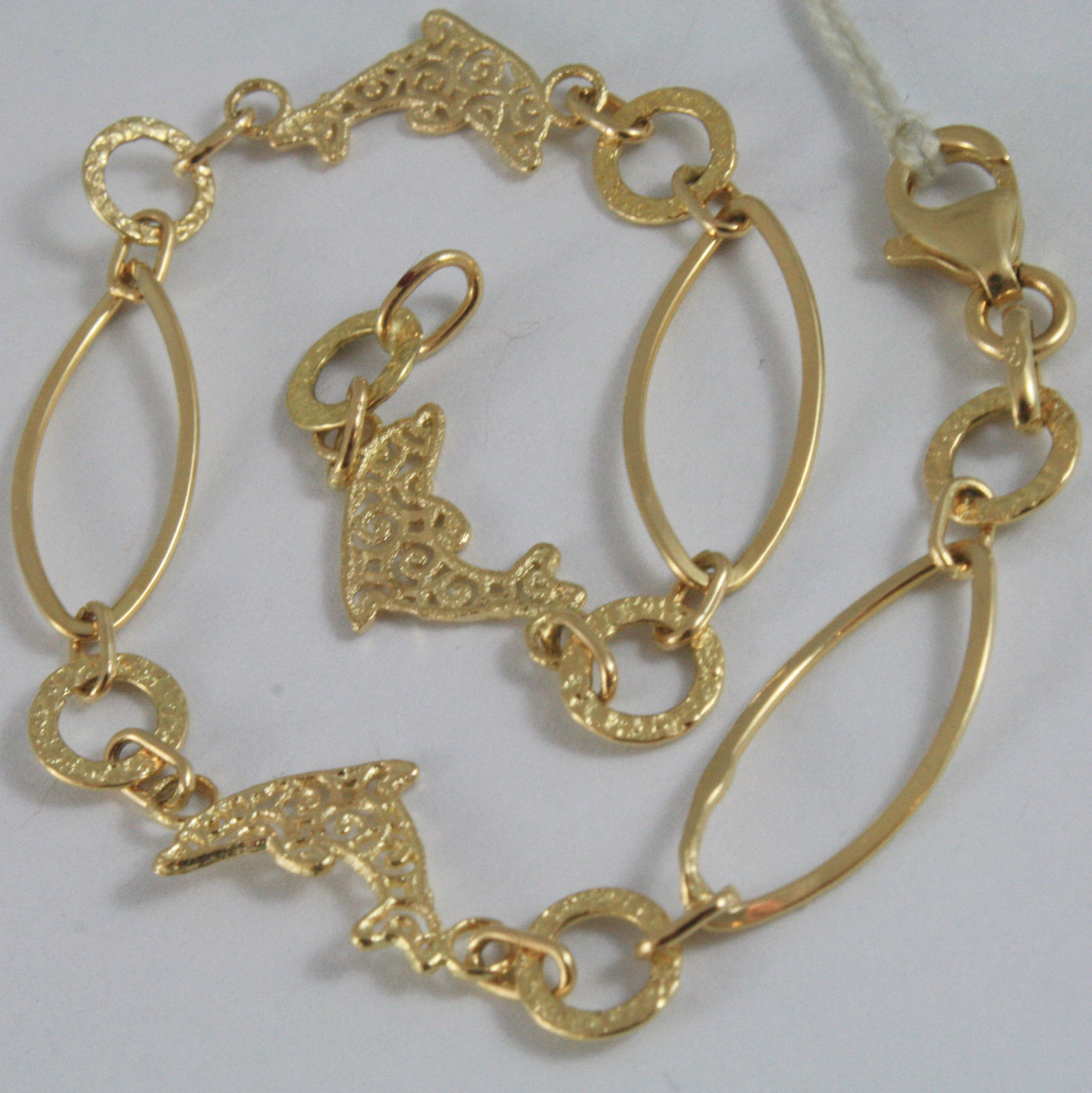 SOLID 18K YELLOW GOLD BRACELET WITH WORKED DOLPHINS AND OVAL MESH, MADE IN ITALY