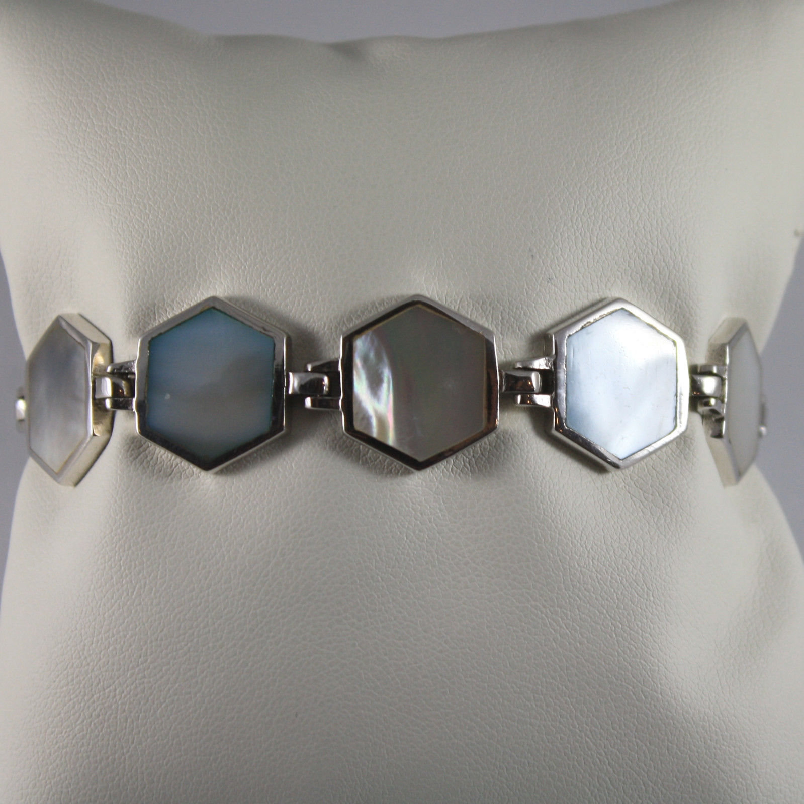 .925 RHODIUM SILVER BRACELET WITH HEXES WHITE AND BLUE MOTHER OF PEARL