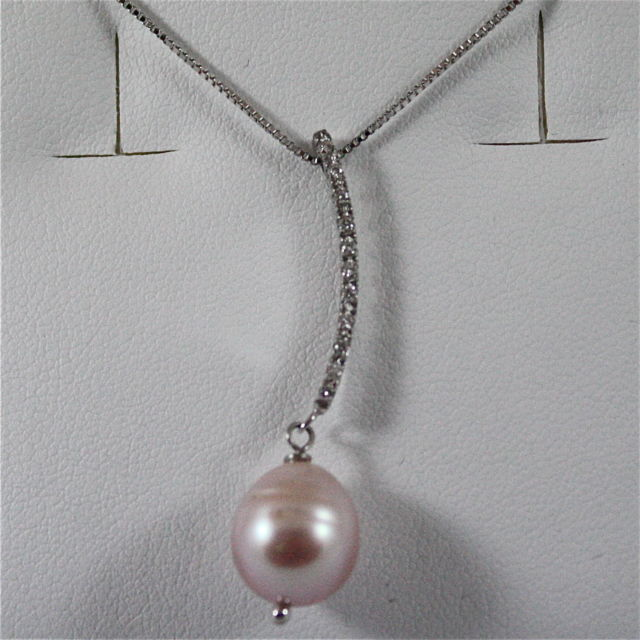 18K WHITE GOLD PENDANT, DIAMOND, ROSE DROP PEARL, SCARF NECKLACE, MADE IN ITALY