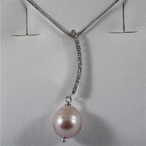 18K WHITE GOLD PENDANT, DIAMOND, ROSE DROP PEARL, SCARF NECKLACE, MADE I... - $298.30