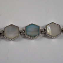 .925 RHODIUM SILVER BRACELET WITH HEXES WHITE AND BLUE MOTHER OF PEARL image 2
