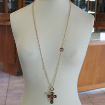 LONG YELLOW BRONZE REBECCA NECKLACE BIG CROSS BROWN CRYSTAL CT 21 MADE IN ITALY