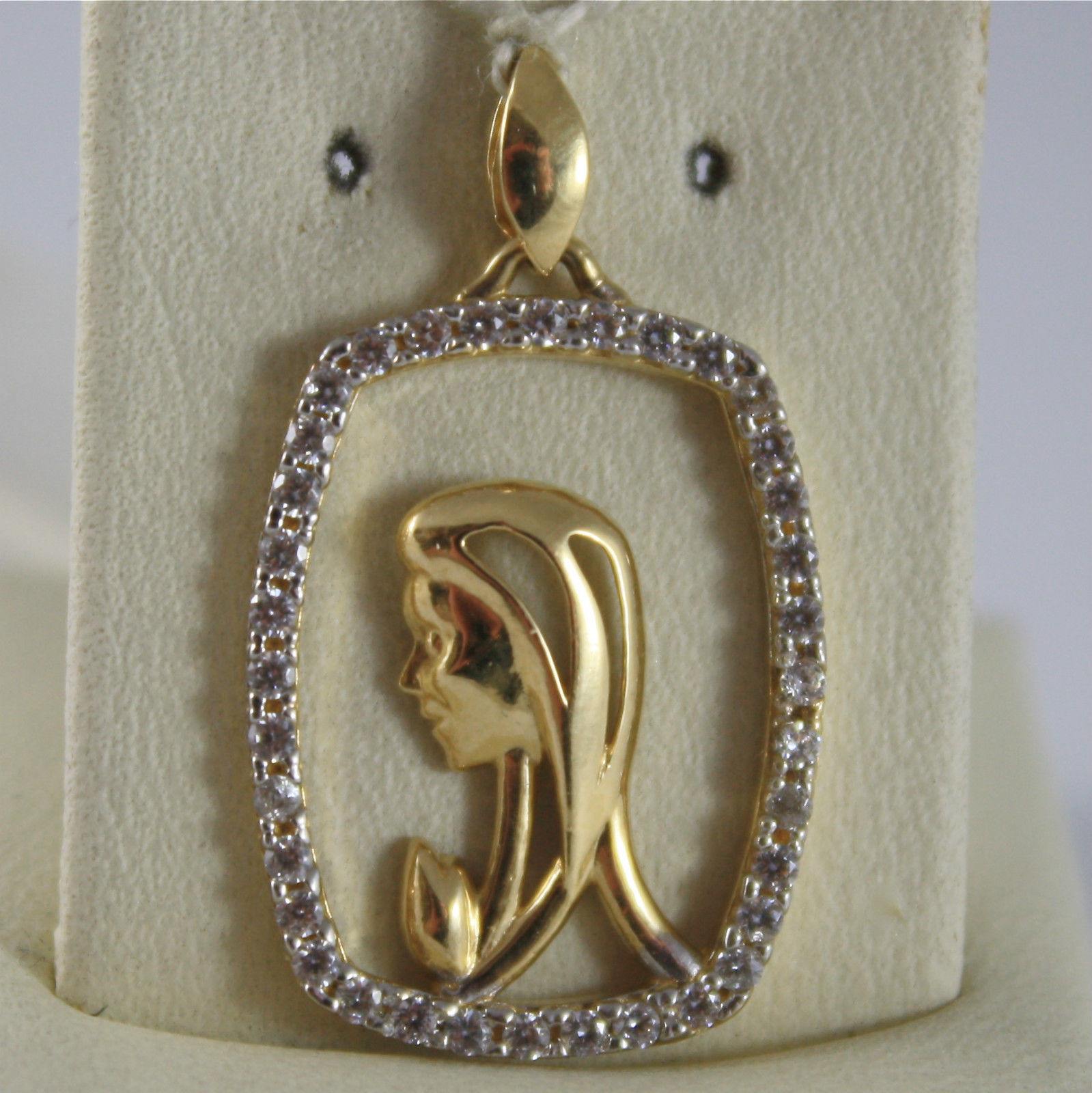 SOLID 18K WHITE YELLOW GOLD MEDAL VIRGIN MARY MADONNA, MARIA, MADE IN ITALY