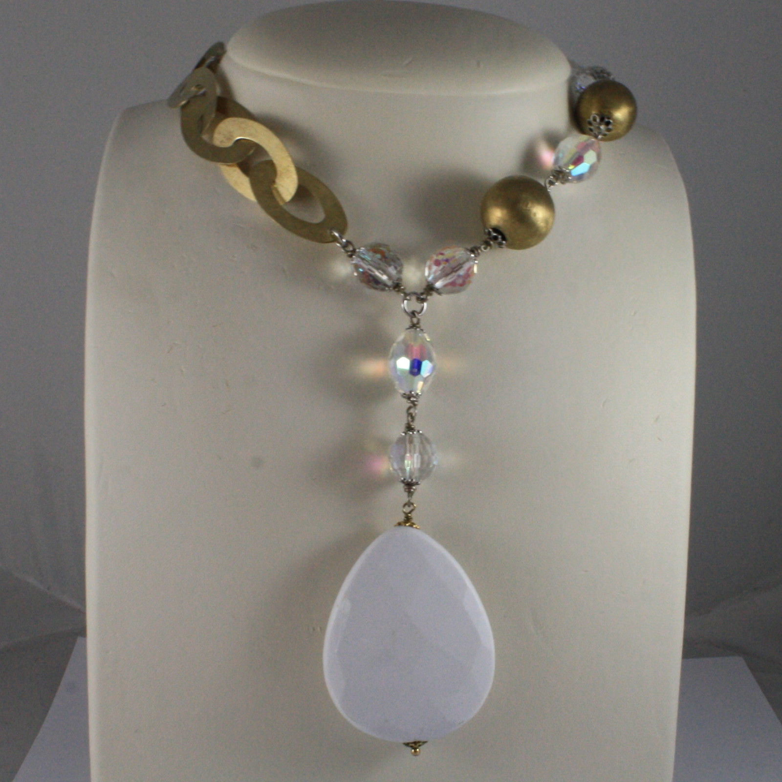 .925 SILVER RHODIUM YELLOW GOLD PLATED NECKLACE WITH WHITE AGATE AND CRISTALS