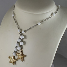 .925 RHODIUM SILVER NECKLACE, WHITE AGATE, SCARF, 2 YELLOW PLATED SILVER STARS. image 4