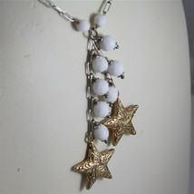 .925 RHODIUM SILVER NECKLACE, WHITE AGATE, SCARF, 2 YELLOW PLATED SILVER STARS. image 2