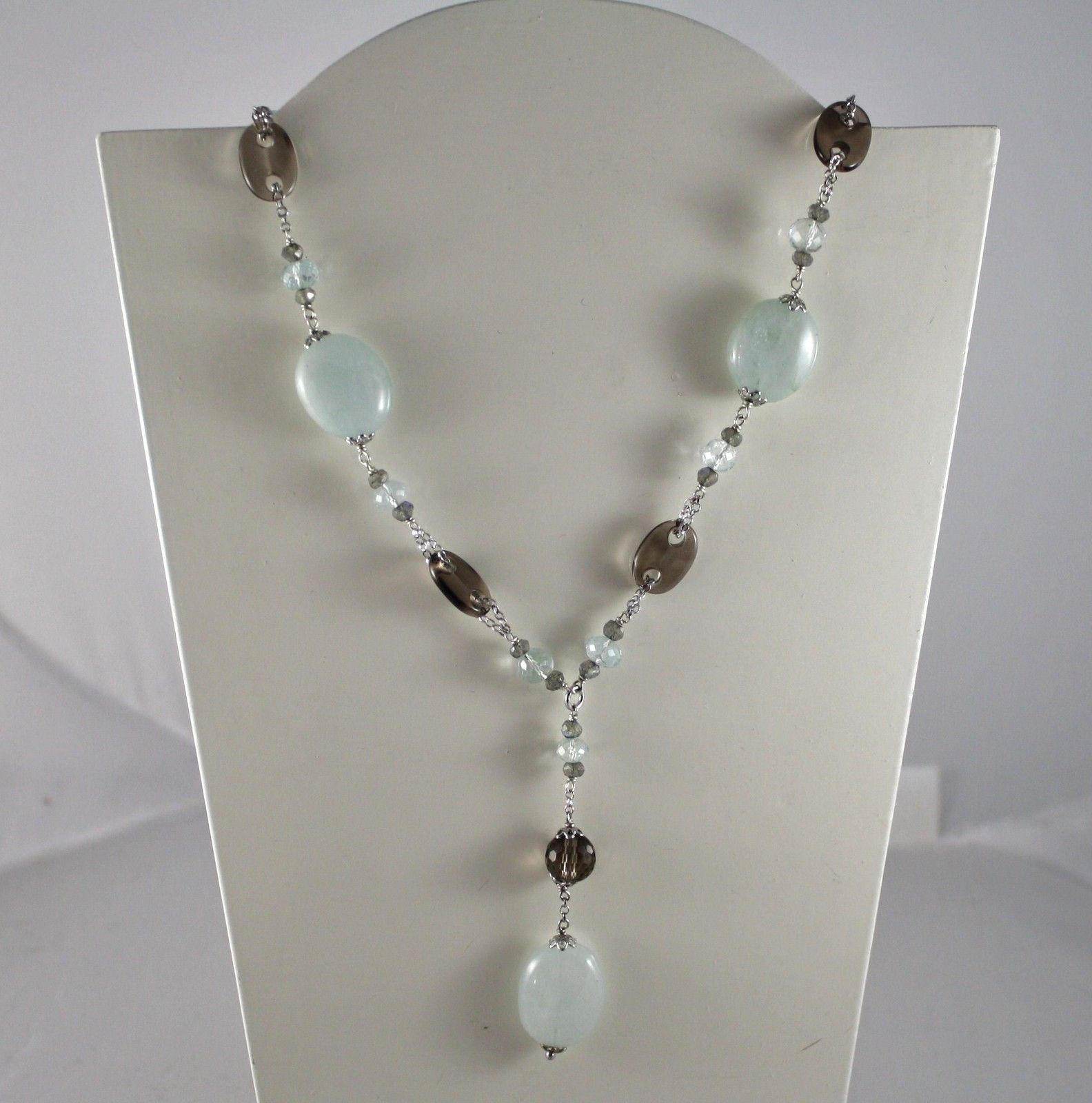 .925 SOLID STERLING SILVER NECKLACE WITH AQUAMARINE, QUARTZ, LABRADORITE