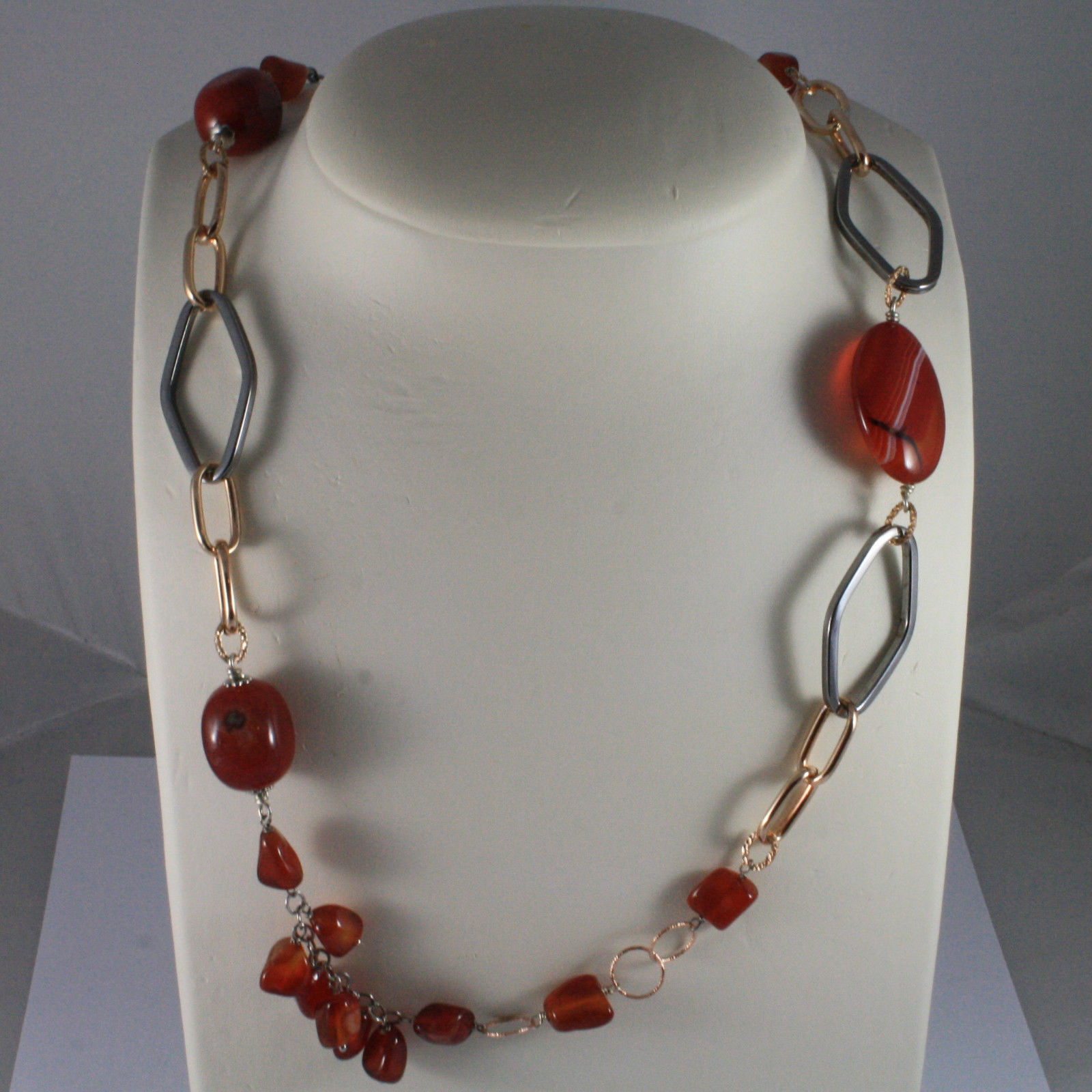 .925 SILVER RHODIUM ROSE GOLD PLATED AND BURNISHED NECKLACE WITH CARNELIAN-AGATE