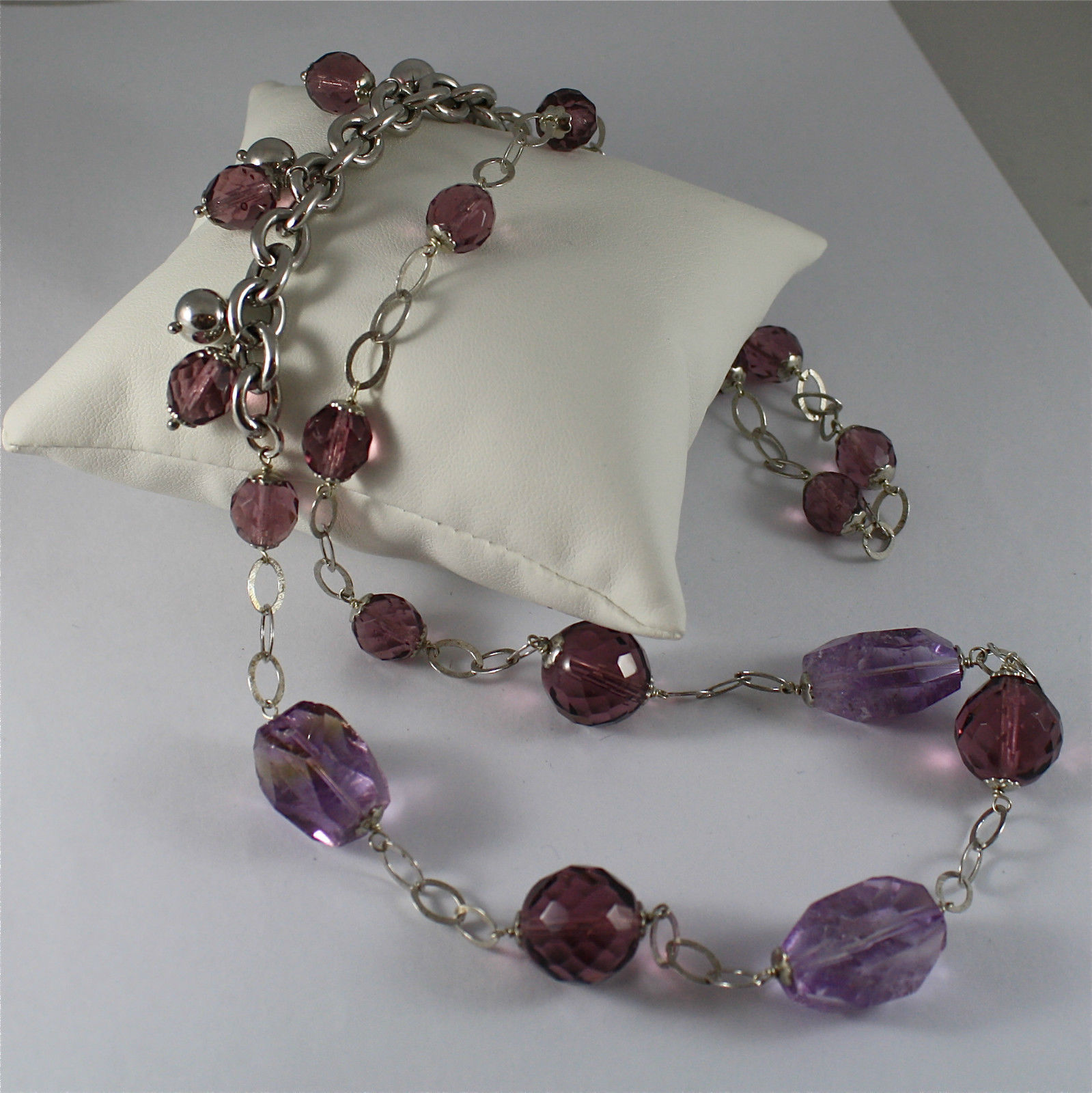 .925 RHODIUM SILVER NECKLACE, AMETHYST, FACETED PURPLE CRYSTALS, MIXED MESH.