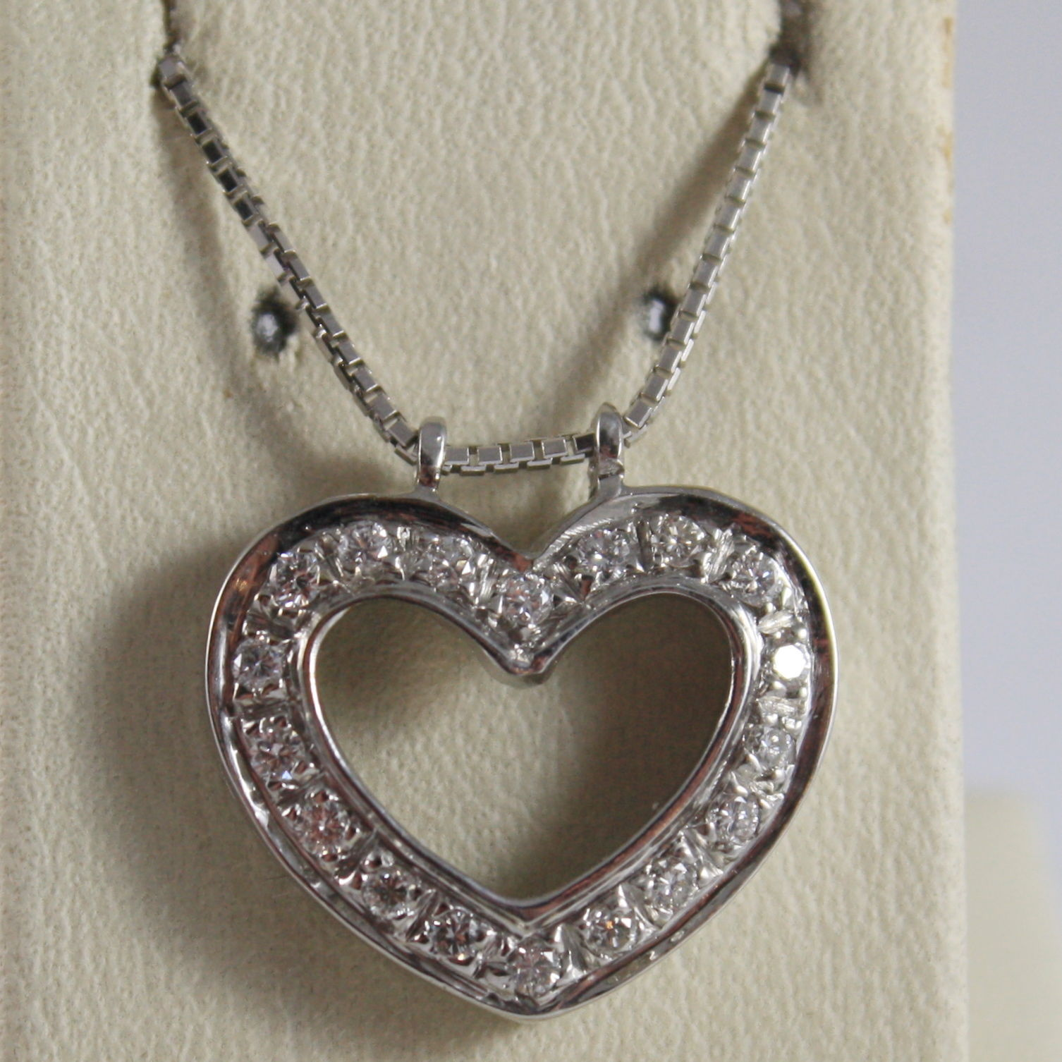 SOLID 18K WHITE GOLD NECKLACE WITH HEART DIAMONDS, DIAMOND MADE IN ITALY