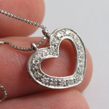 SOLID 18K WHITE GOLD NECKLACE WITH HEART DIAMONDS, DIAMOND MADE IN ITALY image 2