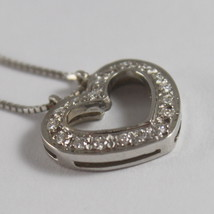 SOLID 18K WHITE GOLD NECKLACE WITH HEART DIAMONDS, DIAMOND MADE IN ITALY image 3