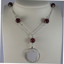 .925 RHODIUM SILVER NECKLACE WITH RED AGATE AND HEART PENDANT