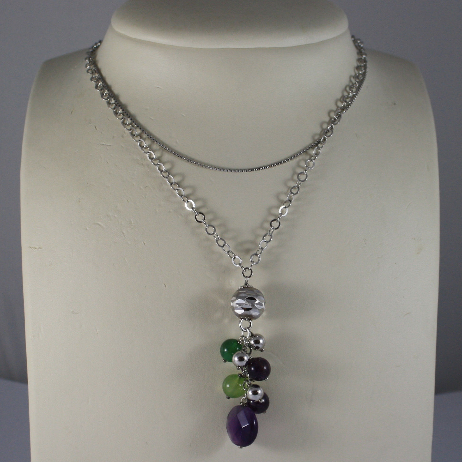 .925 RHODIUM MULTI STRAND NECKLACE WITH AMETHYST AND GREEN JADE
