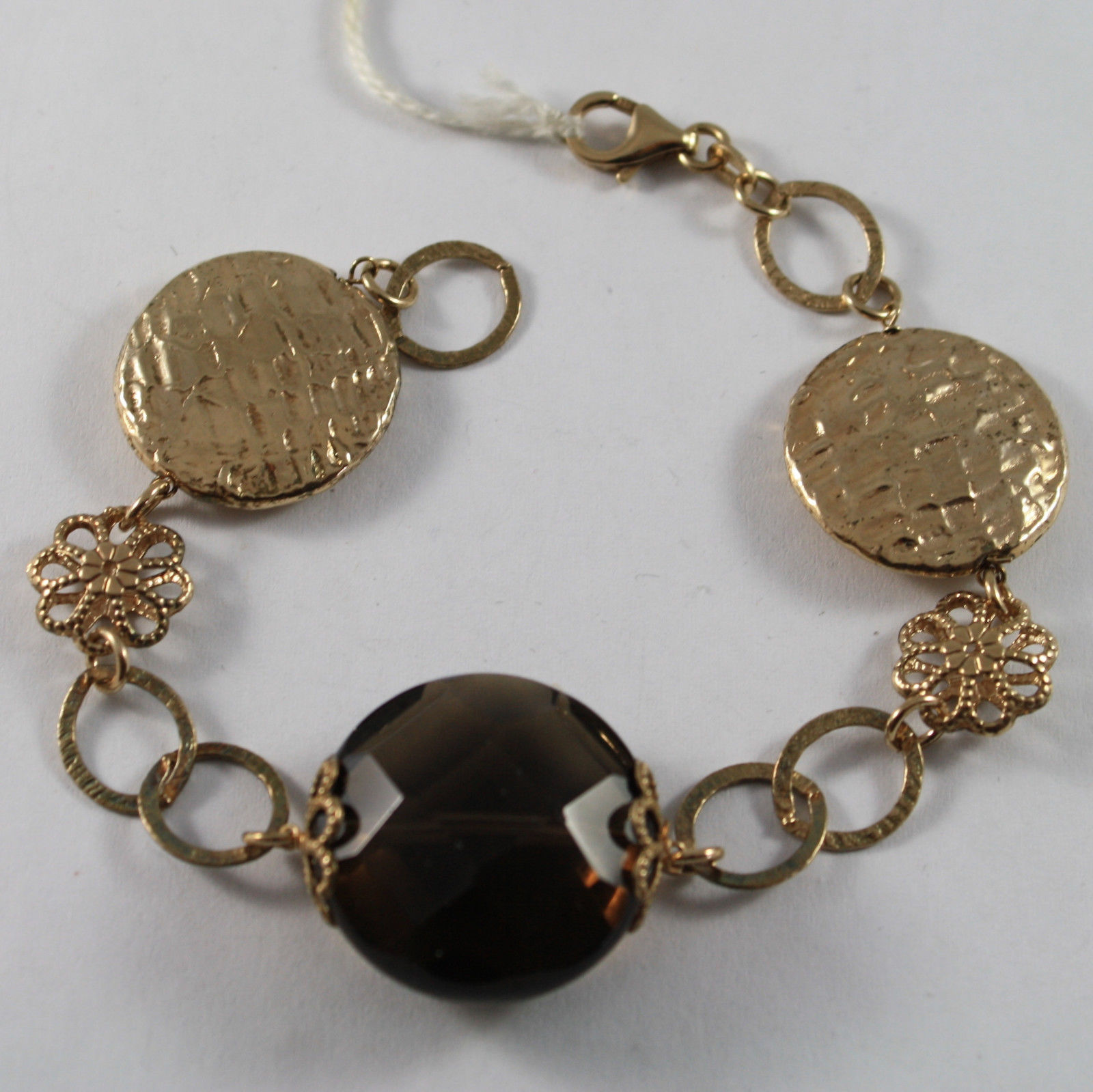 .925 RHODIUM SILVER YELLOW GOLD PLATED BRACELET WITH SMOKY QUARTZ