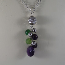 .925 RHODIUM MULTI STRAND NECKLACE WITH AMETHYST AND GREEN JADE image 3