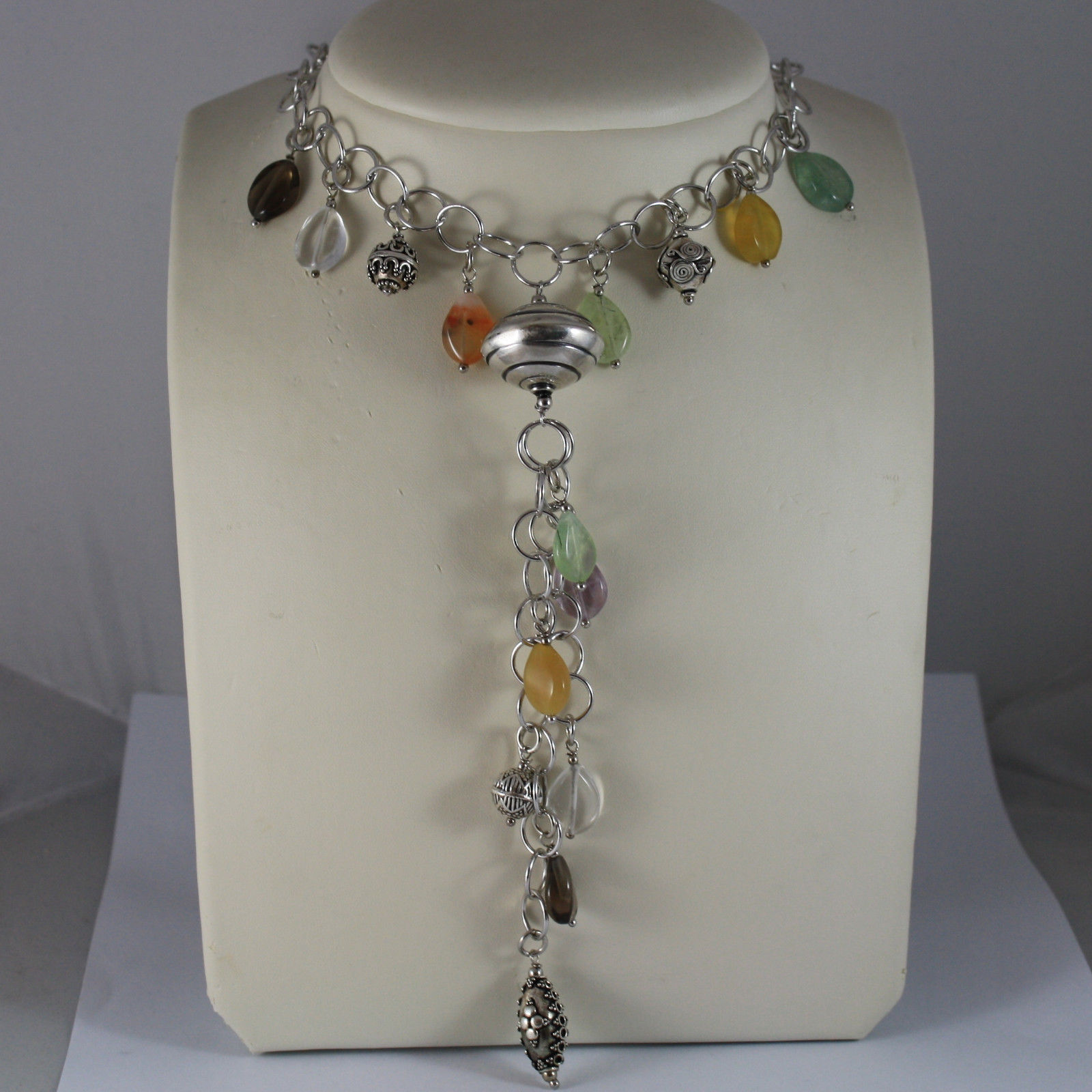 .925 RHODIUM SILVER NECKLACE WITH JADE, QUARTZ, AMETHYST AND CHARMS