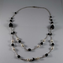 .925 RHODIUM NECKLACE WITH BLACK ONYX AND FRESHWATER WHITE PEARLS image 2