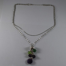 .925 RHODIUM MULTI STRAND NECKLACE WITH AMETHYST AND GREEN JADE image 2