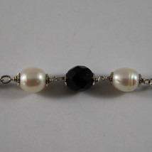 .925 RHODIUM NECKLACE WITH BLACK ONYX AND FRESHWATER WHITE PEARLS image 3