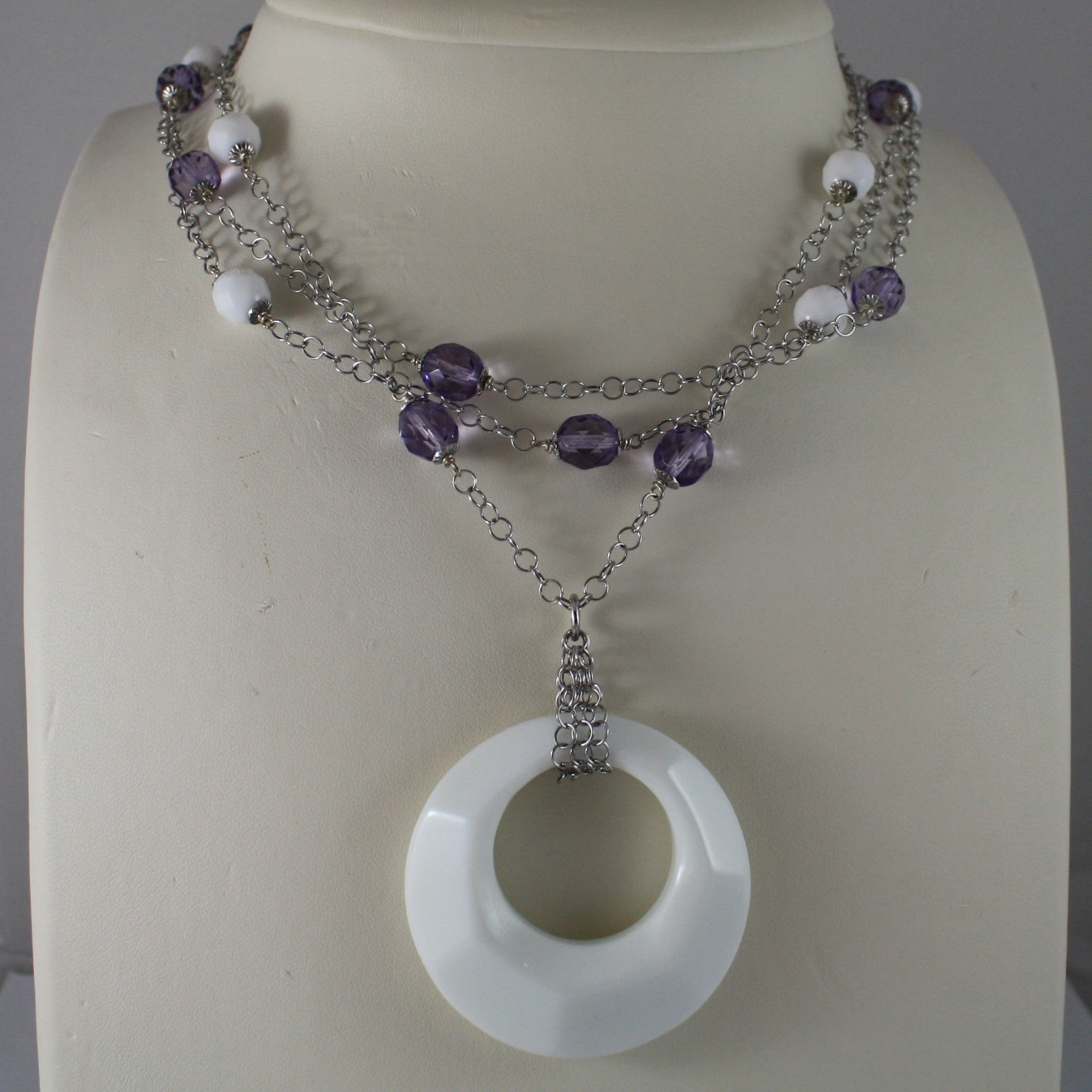 .925 SILVER RHODIUM MULTI STRAND NECKLACE WITH PURPLE CRYSTALS AND WHITE AGATE